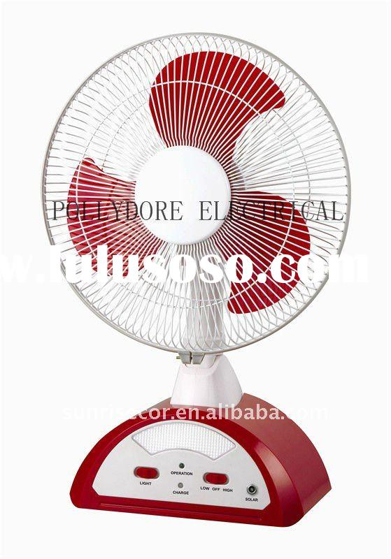 "14"" oscillating rechargeable table fan with LED light"