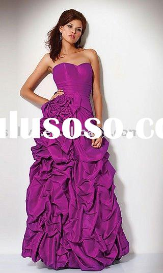 2011 Hot Sale Cheap Wholesale strapless sweetheart handmade flower Prom Evening/Party Dresses/Gowns