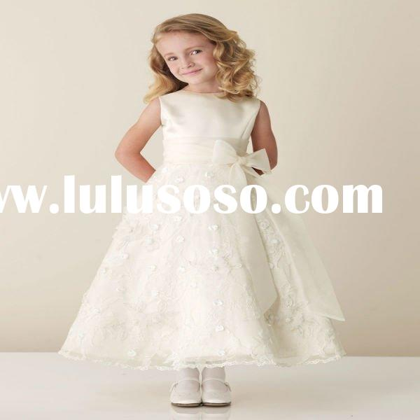 2011 New Arrival High Neck Bow Sash Lace Appliqued Satin Infant Flower Girl Dresses