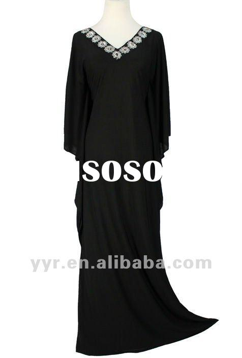 2012 Lady Moslim Black Beaded Long Sleeves Maxi Tunic Dresses,Wholesale and Retail,YYH-BDF1044#