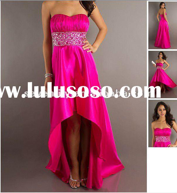 2012 New Style hot pink strapless fabulous hi-lo Skirt Prom Dresses