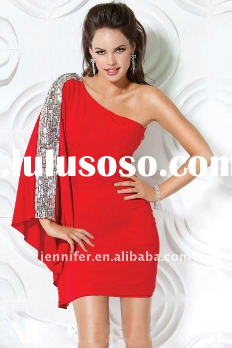 2012 New style wholesale price red one shoulder short evening dress (abh342)