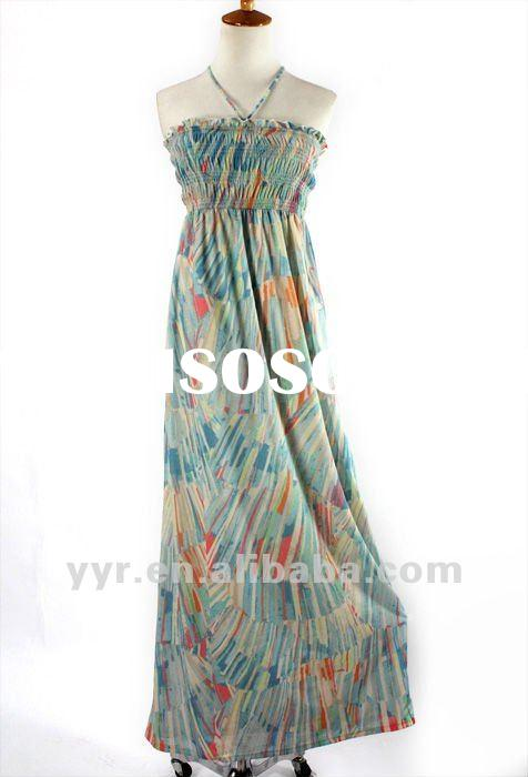 2012 Wholesale Fashion Lady Cotton Casual Bohemia Print Maxi Dress Sleeveless,YYH-CQ10#