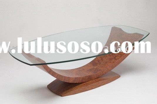 2012 new design plywood glass coffee tables wood base