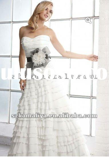 2013 noble beautiful tiered snow-white wedding dresses
