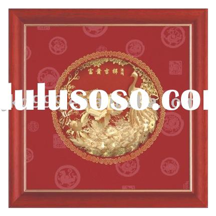 24k gold foil product-Peafowl and peony picture
