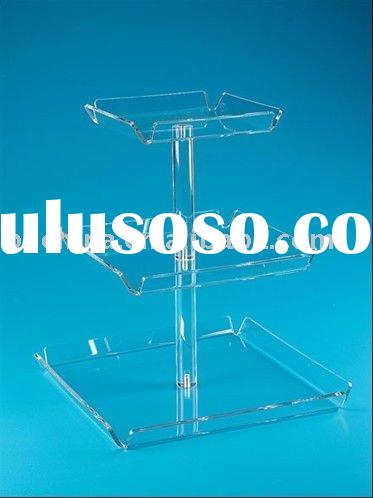 3 Tier Square FLAT-PACK Perspex Cupcake Stand;3 Tier 5mm Thick Clear Acrylic Square Maypole Cupcake