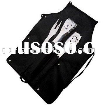 3pcs stainless steel barbecue set with apron