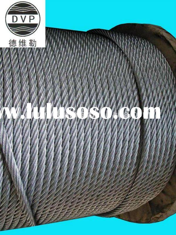7x19/6x19+FC hot dip galvanized steel wire rope manufacturer from China