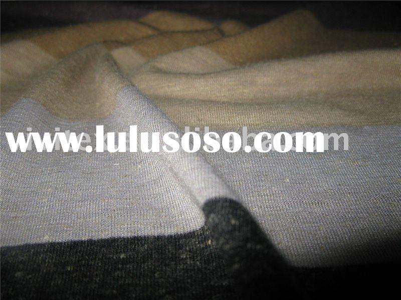 85%polyester,15%linen single jersey yarn dyed knit fabric