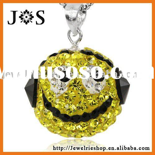 925 Sterling Silver Citrine Smile Crystal Pave Bead Crystal Pendant Charm
