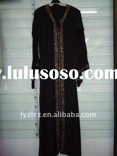 A081709 Hot sale abaya in dubai, boutique dubai black abaya with diamond and embroidery