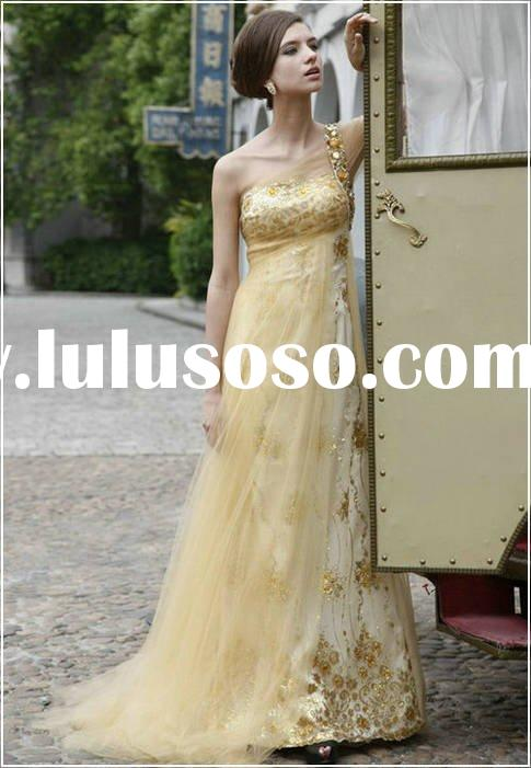 A-line One shoulder ladies evening dress yellow Tulle Beading Sweep train Beading silk, chiffon whol