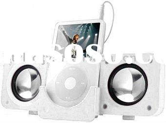 Amplified Portable Folding Aluminum Multimedia Speakers for Apple iPad, iPhone and iPod (White)