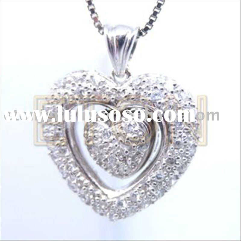 Artisan crafted heart shape mould design pure clear AAA 925 sterling silver pendants(P3111)