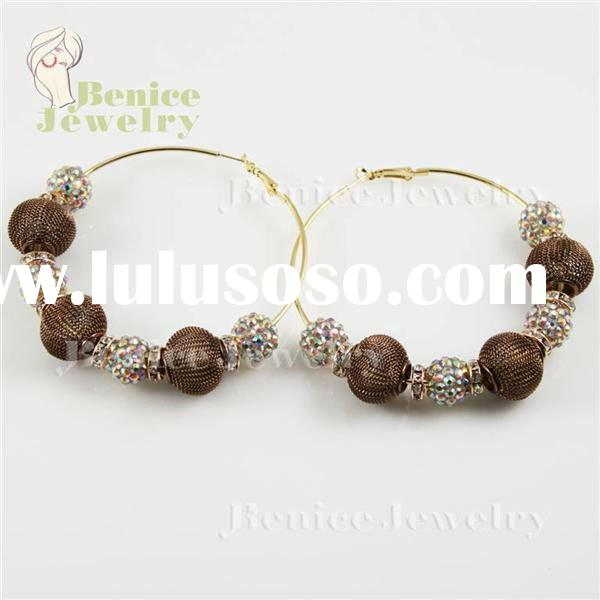 BWZ036 basketball wives earrings beads basketball wives mesh ball hoop earrings2012 trend jewelry