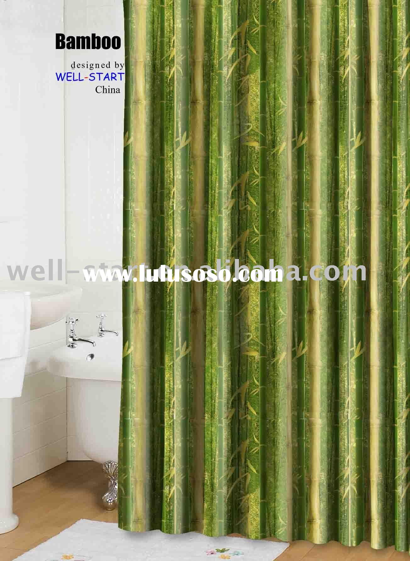 Bamboo natural printed polyester fabric shower curtain