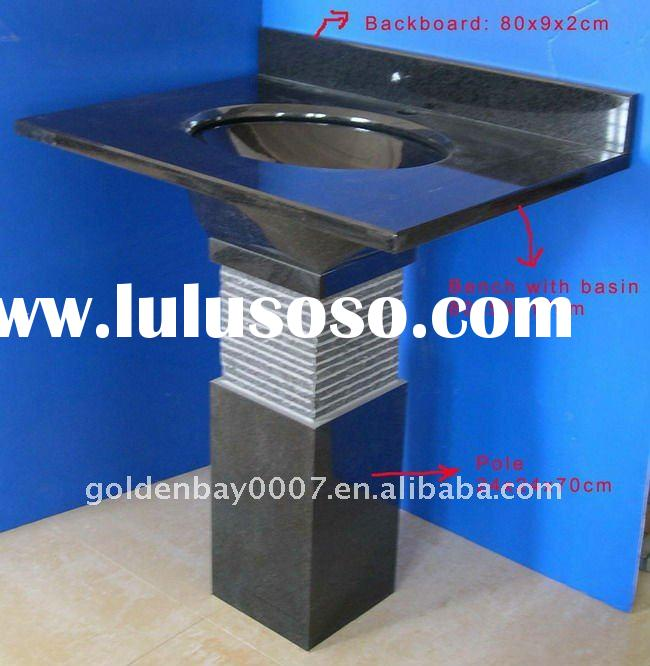 Bathroom Vanity Console ,pedestal sinks, black granite basin