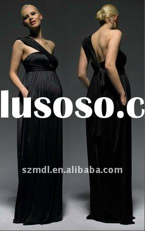 Black Chiffon Empire Waist One Shoulder Floor-Length Maternity Dress