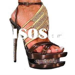 Bronze-coloured colorful diamond double platform brand name shoes high heel shoes GSL016 free shippi