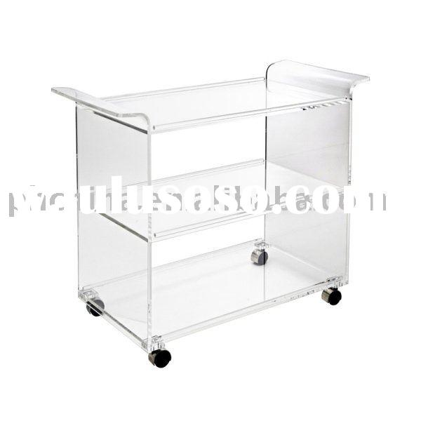 Clear Acrylic Serving Cart;Clear Acrylic Hotel Service Trolley;Acrylic Restaurant Trolley