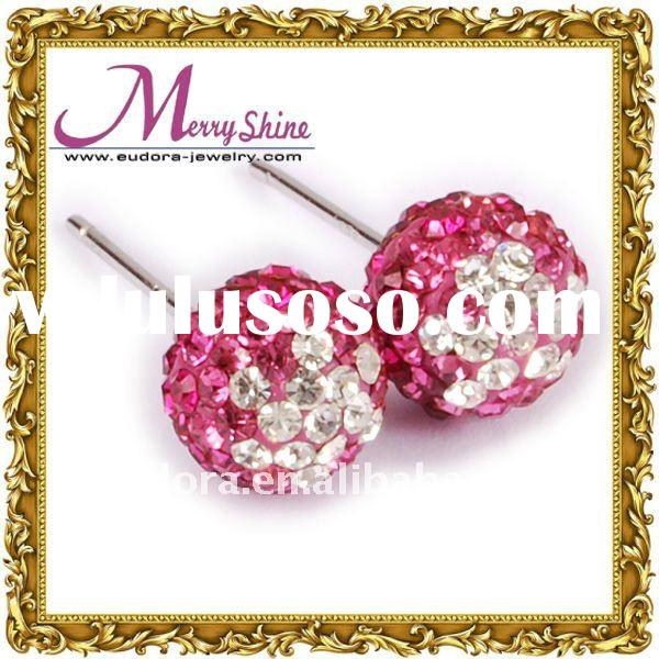 Cool shamballa earrings 925 Sterling Silver Earrings With Swarovski Crystals