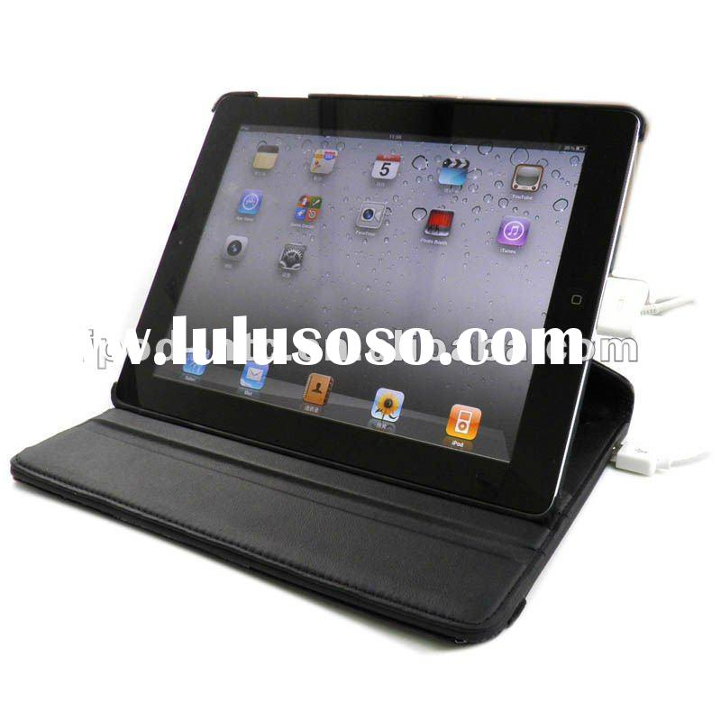 "Crocodile pattern 360"" rotatable Leather Case cover for iPad 2 with 6500 mah charging battery"