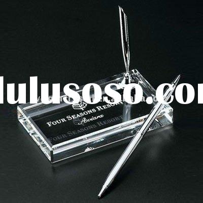Crystal Glass pen holder with ball-point pen-office desktop gifts