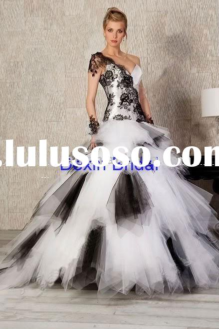 Custome Made black&white organza one shoulder Free Shiping Wedding Dress&Wedding Gown