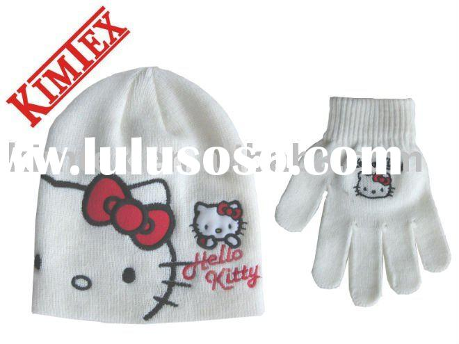 Cute Hello Kitty Hat And Glove Set For Kids