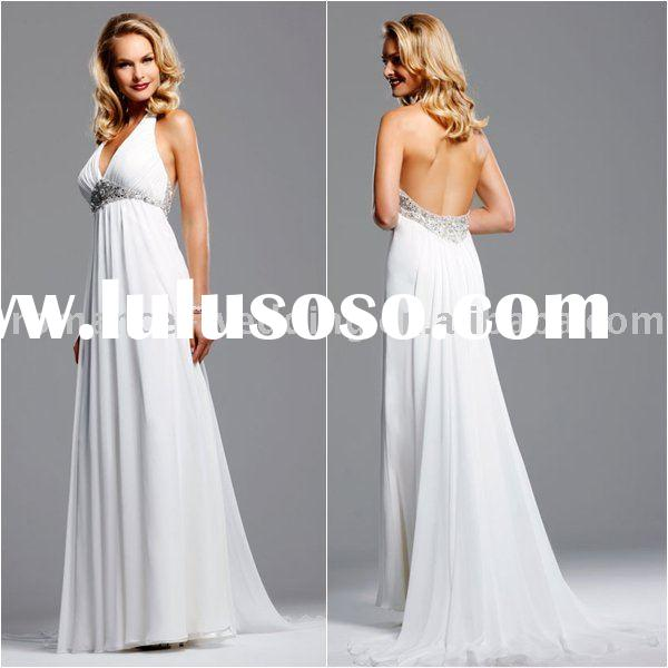 DT0014 Beaded Chiffon Halter Backless Beach Wedding Dress 2011