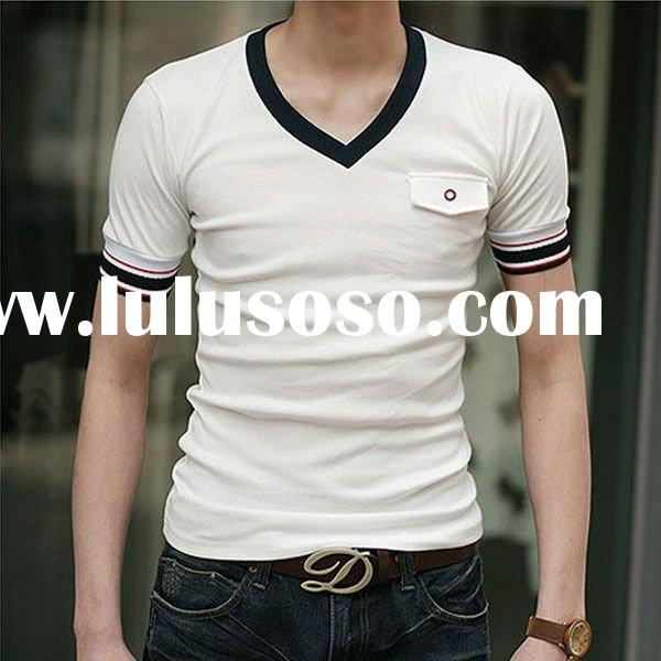 Deep V-neck Blank Plain Fitted t shirt Men Clothing Wholesale