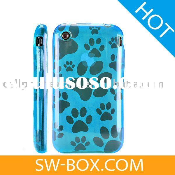 Dog Paw Pattern Silicone Skin Case Cover for Apple iPhone 3GS iPhone 3G (Blue) /for iphone tpu case
