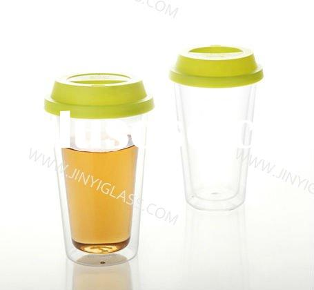 Double wall glass cup with silicone lid