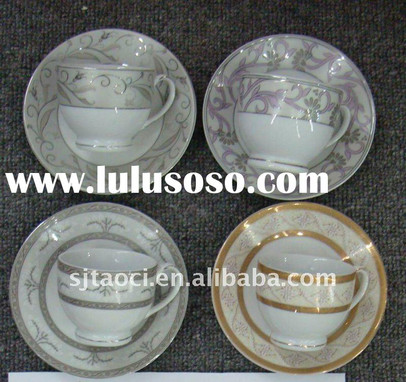 Fine Half porcelain coffee cup and saucer,Hard antiques ceramic plates tableware