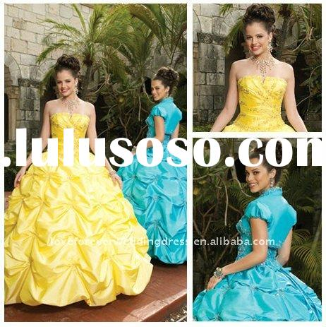 Floor Length Ball Gown Yellow Blue Quinceanera Dresses 2011