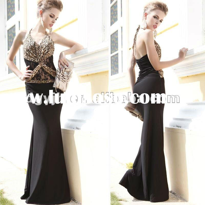 Golden Leopard Grain Fashion prom dresses 2012