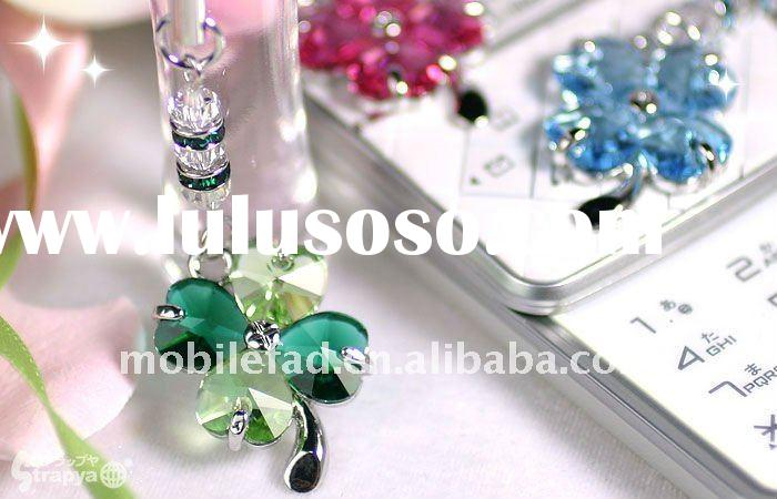 Good luck, Happiness, Sweet love gifts, Lucky Four-leaf Clover Crystal Mobile Phone Charms