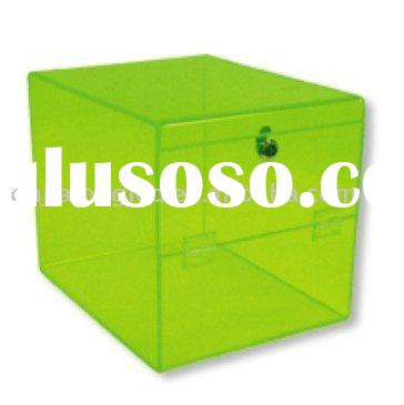 Green Pull Tab Box with Lock and Cash Drawer/Acrylic tab box