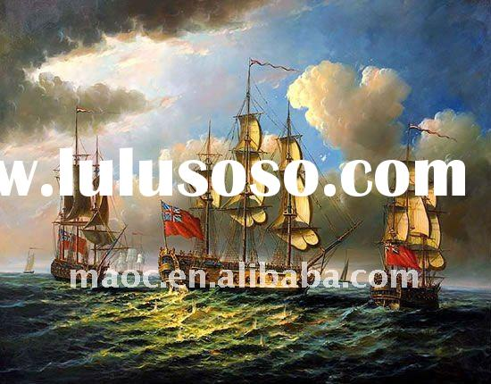 Handmade oil painting canvas sea and viking ship