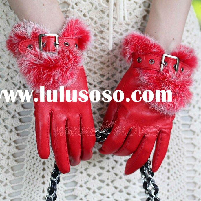 High quality wholesale Red ladies leather gloves