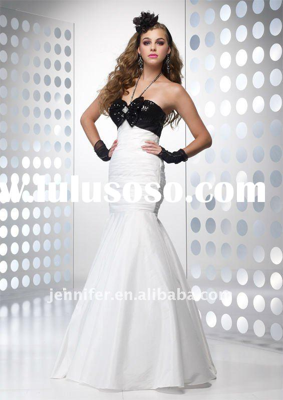 Hot sale New style white and black fishtail evening dress 2012 (abh411)