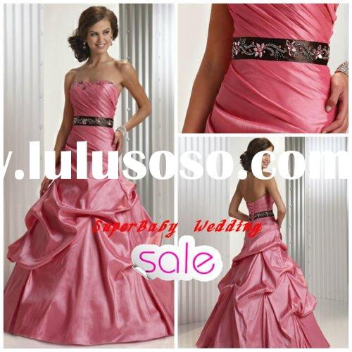 Hot strapless ball gown E-885 pink long evening dress