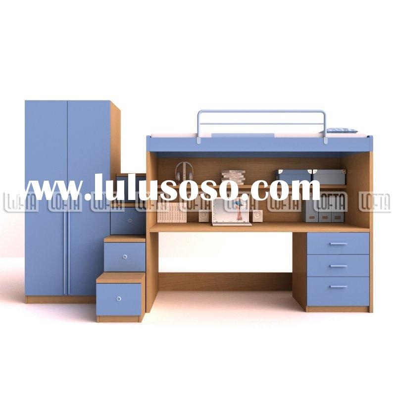 Kids bedroom sets high sleeper bed with workstations, two door wardrobe and storage ladder in ikea s