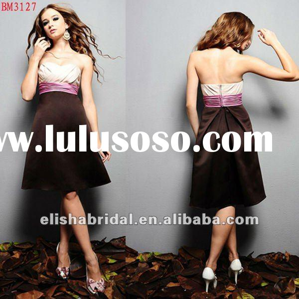 Knee-length Sweetheart Satin Pink And Brown Bridesmaid Dresses