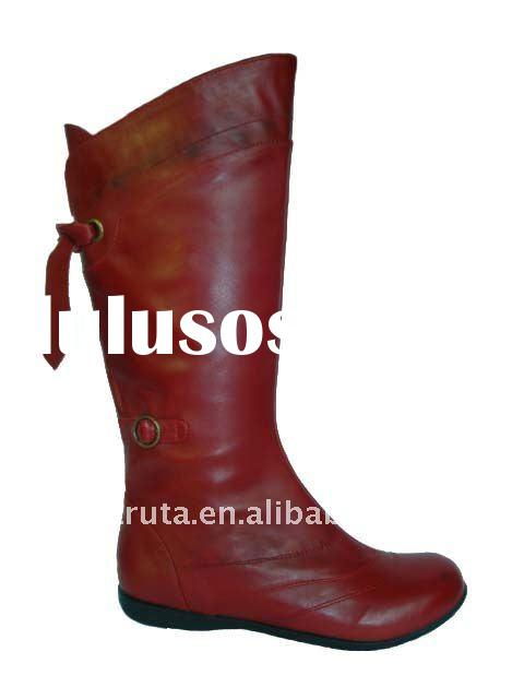 Ladies Leather Boots red boots