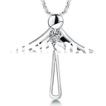 Latest design two wings silver bridal necklaces jewelry