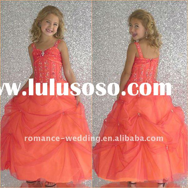 MD0095 Beaded Organza Ball Gown Flower Girl Children Party Dress