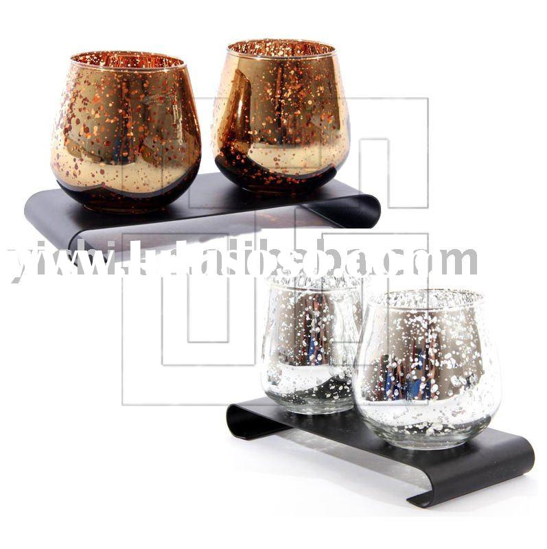 Mercury Glass Candle Holders with Metal Stand