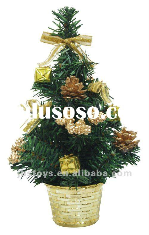 Mini Artificial Christmas Tree with decorations in flowpot ( We can do OEM Order )